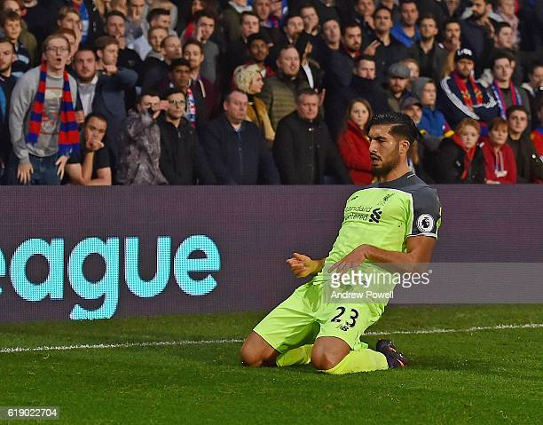 Emre Can of Liverpool scores the opening goal and celebrates during the Premier League match between Crystal Palace and Liverpool at Selhurst Park on...