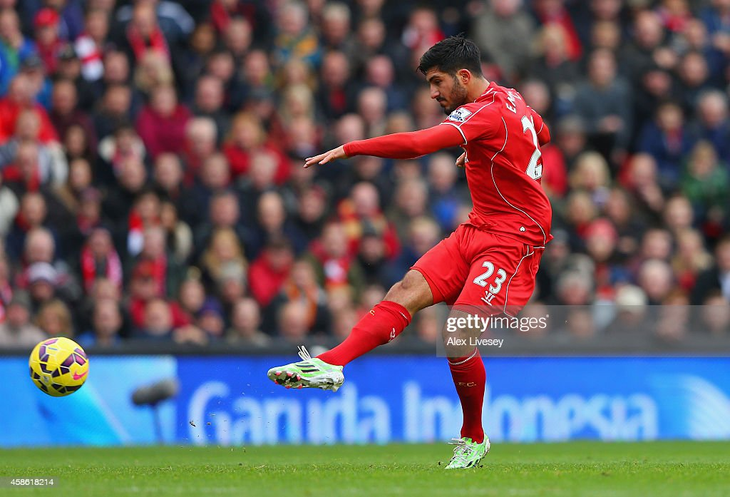 Emre Can of Liverpool scores the opening goal during the Barclays Premier League match between Liverpool and Chelsea at Anfield on November 8, 2014 in Liverpool, England.