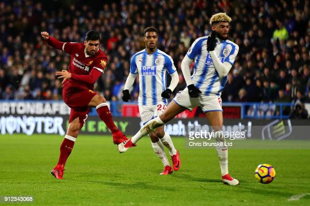 Emre Can of Liverpool scores the opening goal during the Premier League match between Huddersfield Town and Liverpool at John Smith's Stadium on...