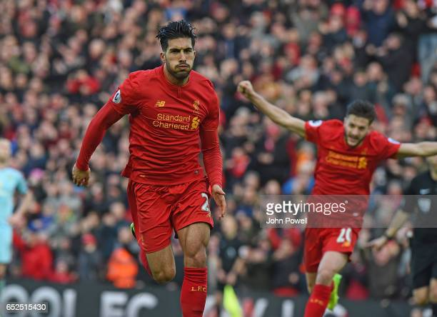 Emre Can of Liverpool Scores the Second Goal during the Premier League match between Liverpool and Burnley at Anfield on March 12 2017 in Liverpool...