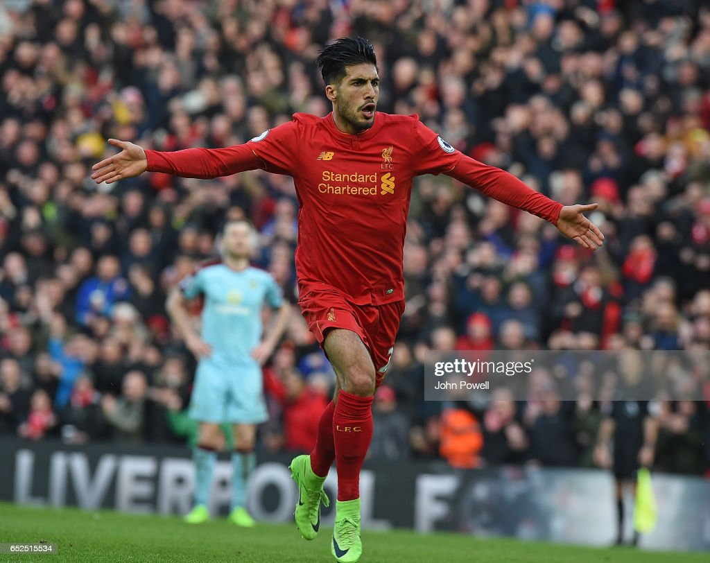 Emre Can of Liverpool Scores the Second Goal during the Premier League match between Liverpool and Burnley at Anfield on March 12, 2017 in Liverpool, England.
