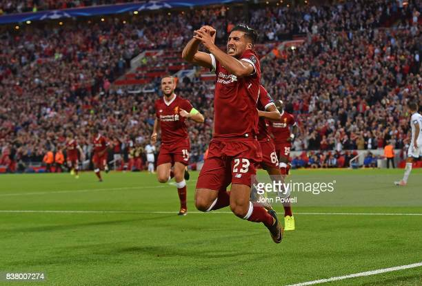 Emre Can of Liverpool scores the Third and celebrates during the UEFA Champions League Qualifying PlayOffs round second leg match between Liverpool...
