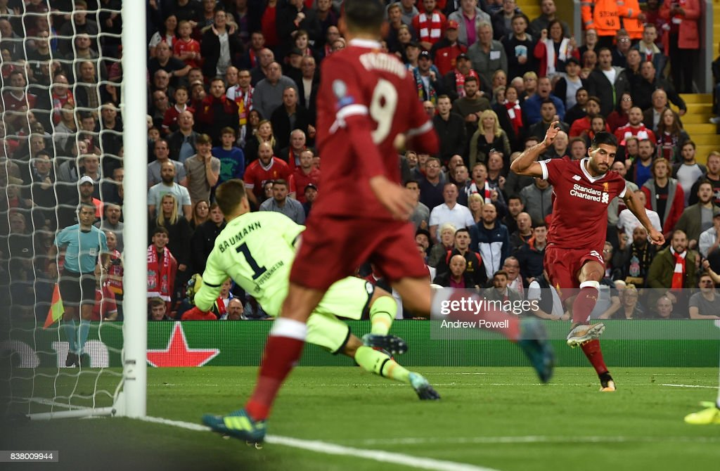 Emre Can of Liverpool scores the Third during the UEFA Champions League Qualifying Play-Offs round second leg match between Liverpool FC and 1899 Hoffenheim at Anfield on August 23, 2017 in Liverpool, United Kingdom.