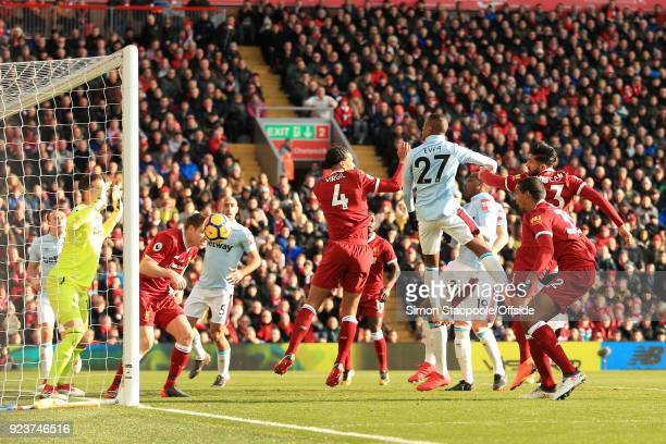 Emre Can of Liverpool scores their 1st goal during the Premier League match between Liverpool and West Ham United at Anfield on February 24 2018 in...