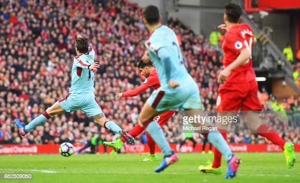 Emre Can of Liverpool scores their second goal during the Premier League match between Liverpool and Burnley at Anfield on March 12 2017 in Liverpool...