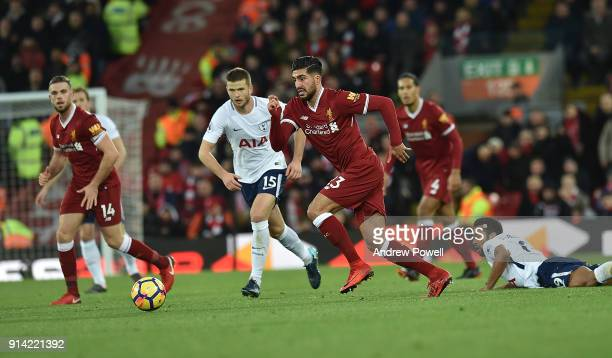 Emre Can of Liverpool with Eric Dier of Tottenham during the Premier League match between Liverpool and Tottenham Hotspur at Anfield on February 4...