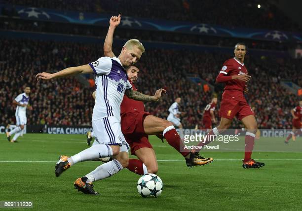 Emre Can of Liverpool with Martin Milec of Maribor during the UEFA Champions League group E match between Liverpool FC and NK Maribor at Anfield on...