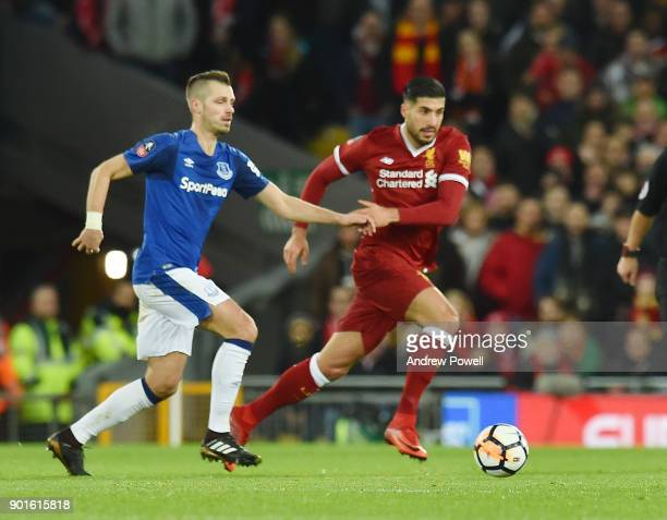 Emre Can of Liverpool with Morgan Schneiderlin of Everton during The Emirates FA Cup Third Round match between Liverpool and Everton at Anfield on...