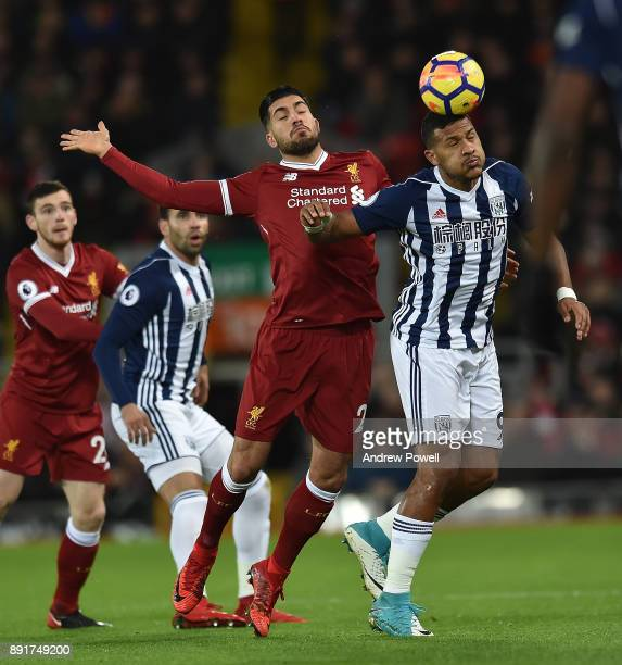 Emre Can of Liverpool with Salomon Rondon during the Premier League match between Liverpool and West Bromwich Albion at Anfield on December 13 2017...