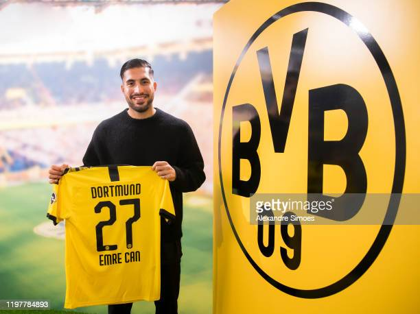 Emre Can poses as he signs for Borussia Dortmund on January 31 2020 in Dortmund Germany