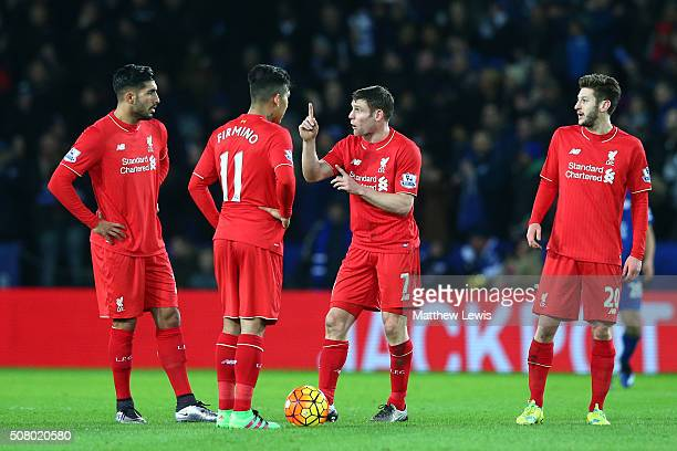 Emre Can Roberto Firmino James Milner and Adam Lallana of Liverpool react after Leicester City's first goal during the Barclays Premier League match...
