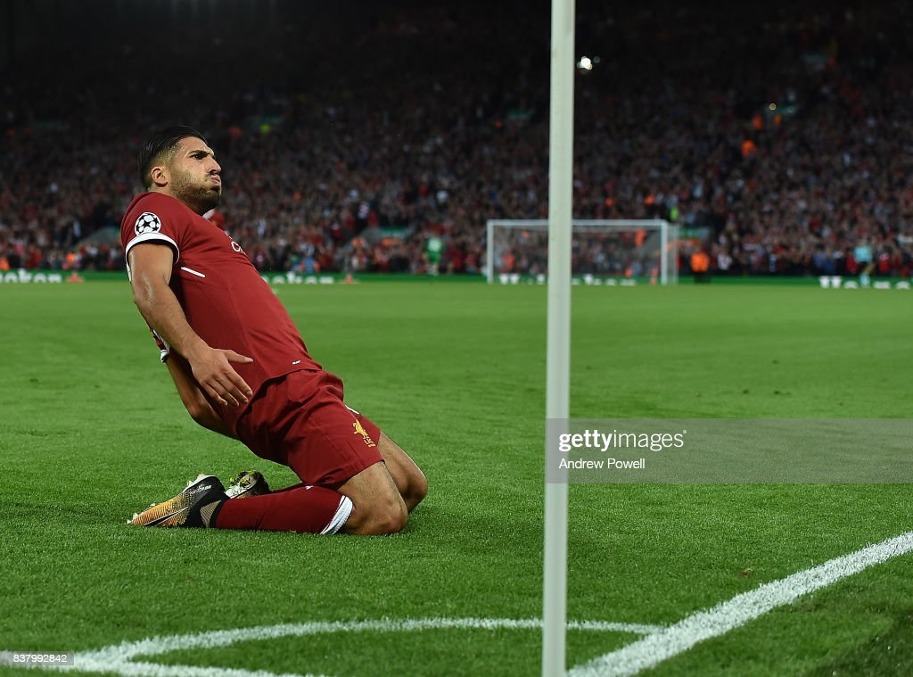 Emre Can Scores liverpool opener and celebrates of Liverpool during the UEFA Champions League Qualifying Play-Offs round second leg match between Liverpool FC and 1899 Hoffenheim at Anfield on August 23, 2017 in Liverpool, United Kingdom.