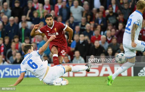 Emre Can Scores liverpool opener of Liverpool during the UEFA Champions League Qualifying PlayOffs round second leg match between Liverpool FC and...