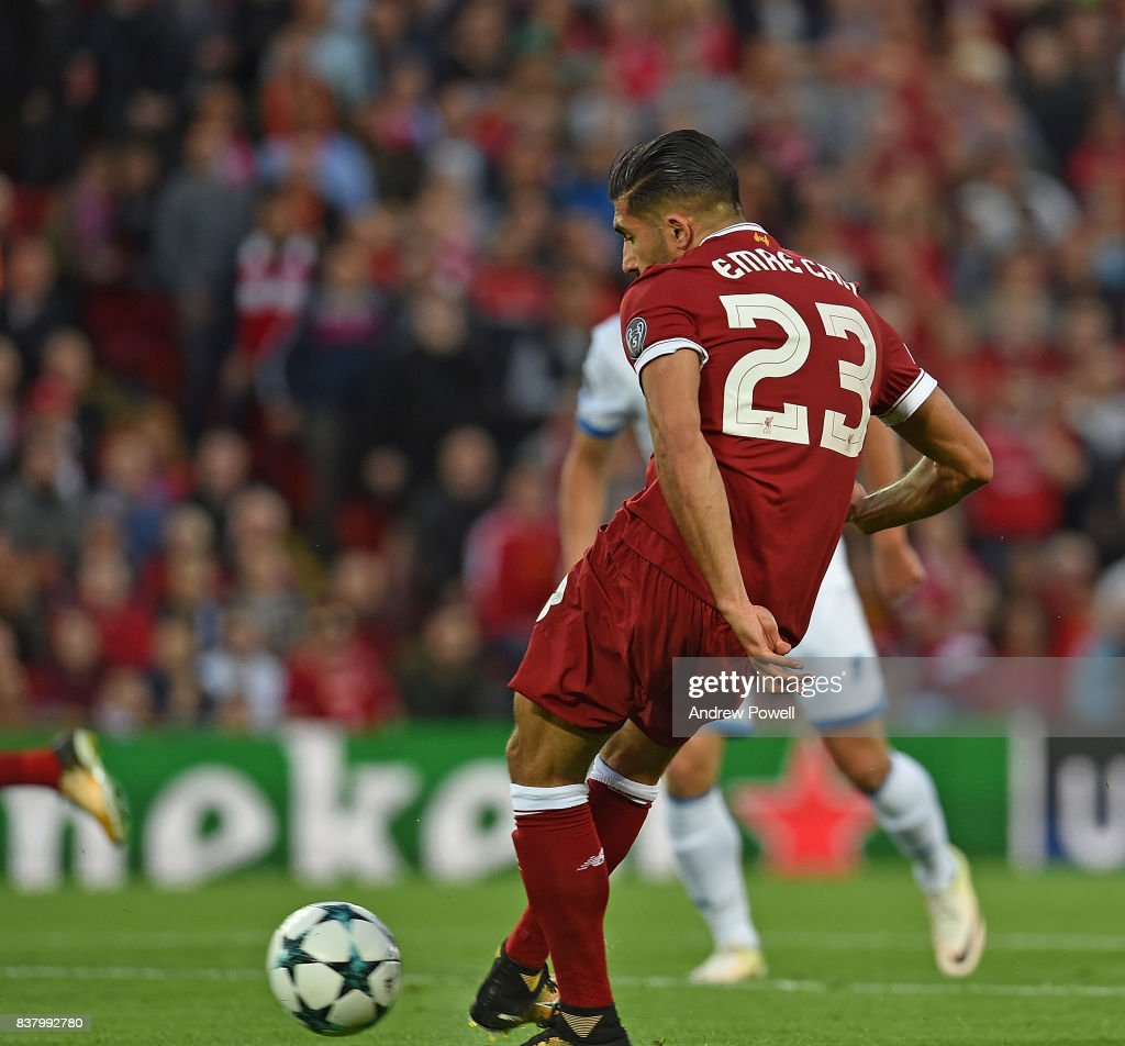 Emre Can Scores liverpool opener of Liverpool during the UEFA Champions League Qualifying Play-Offs round second leg match between Liverpool FC and 1899 Hoffenheim at Anfield on August 23, 2017 in Liverpool, United Kingdom.