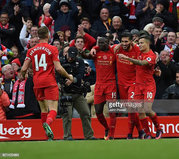 Emre Can scores the third for Liverpool during the Premier League match between Liverpool and Watford at Anfield on November 6 2016 in Liverpool...
