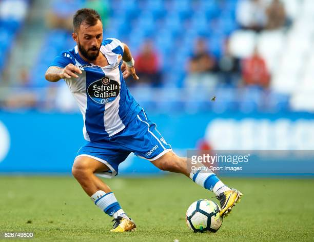Emre Colak of Deportivo de La Coruna in action during the Pre Season Friendly match between Deportivo de La Corua and West Bromwich Albion at Riazor...