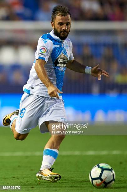 Emre Colak of Deportivo in action during the La Liga match between Levante and Deportivo La Coruna at Ciutat de Valencia on August 26 2017 in...