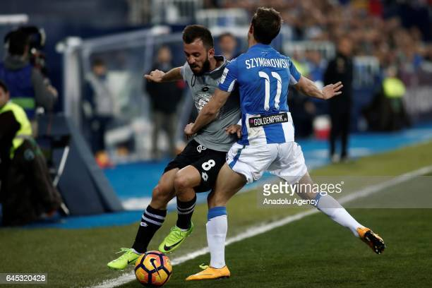 Emre Colak of Deportivo La Coruna in action against Alexander Szymanowski of Leganes during the La Liga football match between Leganes and Deportivo...
