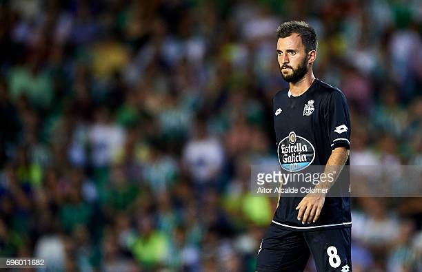 Emre Colak of RC Deportivo La Coruna looks on during the match between Real Betis Balompie v RC Deportivo La Coruna as part of La Liga at Estadio...