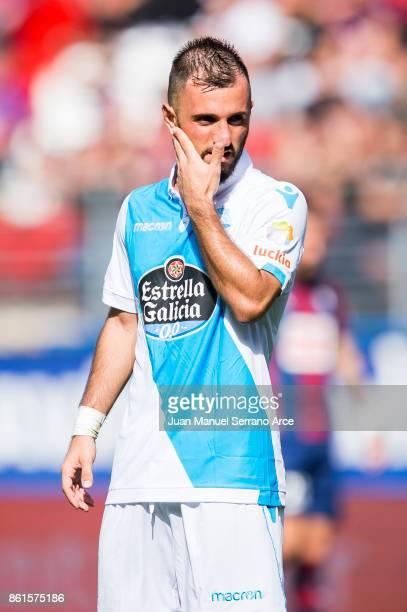 Emre Colak of RC Deportivo La Coruna reacts during the La Liga match between SD Eibar and RC Deportivo La Coruna at Ipurua Municipal Stadium on...