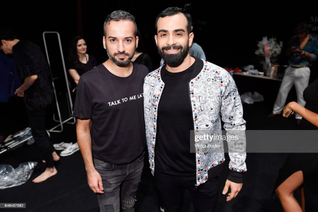Emre Erdemoglu and Gokhan Turkmen backstage ahead of the Emre Erdemoglu show during Mercedes-Benz Istanbul Fashion Week September 2017 at Zorlu Center on September 13, 2017 in Istanbul, Turkey.