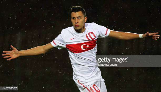 Emre Gural of Turkey celebrates his goal during the Toulon Tournament Group A match between Egypt and Turkey at Stade Perruc on May 25 2012 in...