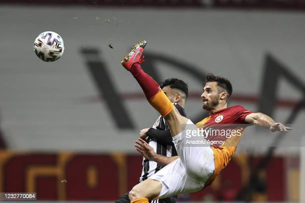 Emre Kilinc of Galatasaray in action against Rachid Ghezzal of Besiktas during the Turkish Super Lig week 40 football match between Galatasaray and...