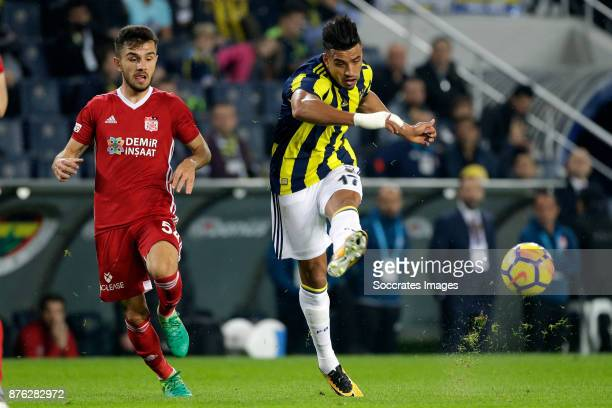 Emre Kilinc of Sivasspor Nabil Dirar of Fenerbahce during the Turkish Super lig match between Fenerbahce v Sivasspor at the Sukru Saracoglustadion on...