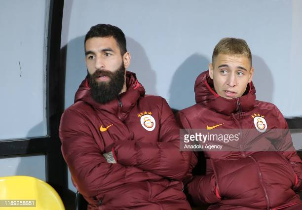 Emre Mor and Jimmy Durmaz of Galatasaray are seen during Ziraat Turkish Cup 5th round 2nd leg soccer match between Tuzlaspor and Galatasaray at...