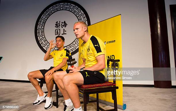 Emre Mor and Sebastian Rode during interviews at the Beaufort Terrace during Borussia Dortmund's Summer Asia Tour 2016 on July 22 2016 in Shanghai...