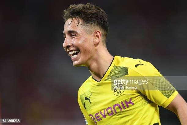 Emre Mor of Borussia Dortmund celebrates after scoring a goal during the preseason friendly match between Urawa Red Diamonds and Borussia Dortmund at...