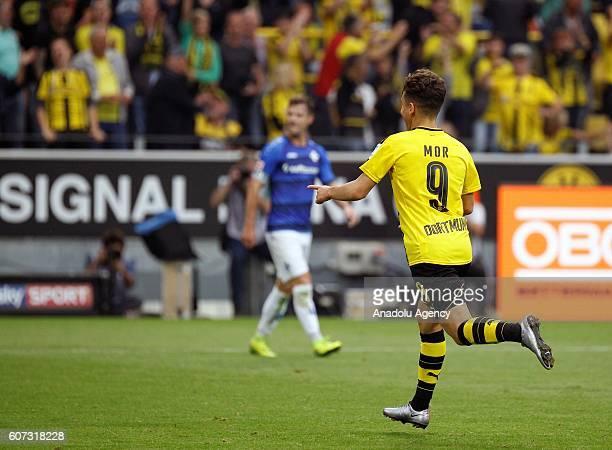 Emre Mor of Borussia Dortmund celebrates scoring a goal during Bundesliga soccer match between Borussia Dortmund and SV Darmstadt 98 at the...