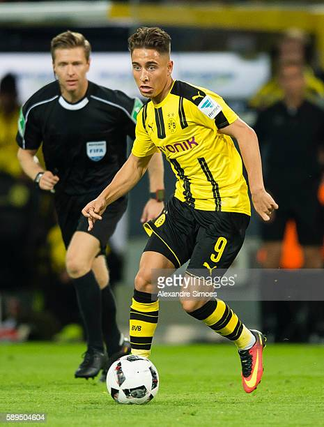 Emre Mor of Borussia Dortmund in action during the DFL Supercup 2016 match between Borussia Dortmund and FC Bayern Muenchen at Signal Iduna Park on...