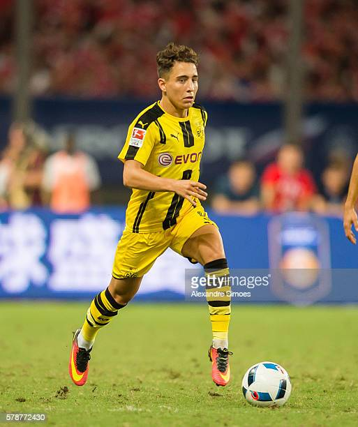 Emre Mor of Borussia Dortmund in action during the International Champions Cup China match at Shanghai Stadium during Borussia Dortmund's Summer Asia...