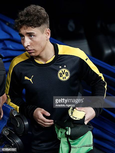 Emre Mor of Borussia Dortmund is seen at the bench during the UEFA Champions League Group F football match between Real Madrid and Borussia Dortmund...