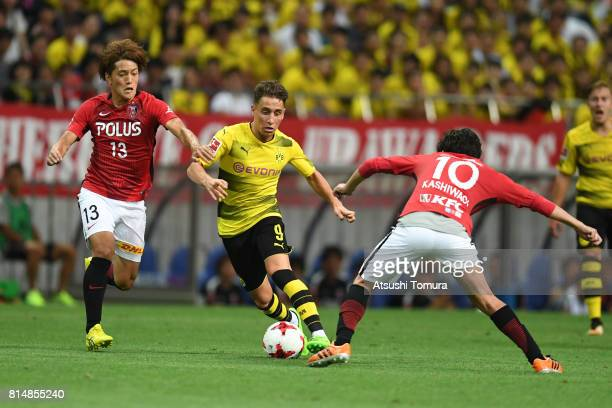 Emre Mor of Borussia Dortmund runs with the ball during the preseason friendly match between Urawa Red Diamonds and Borussia Dortmund at Saitama...