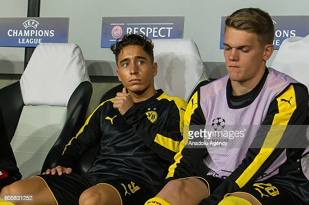 Emre Mor of Borussia Dortmund sits on the bench during the UEFA Champions League soccer match between Legia Warschau and Borussia Dortmund at the...
