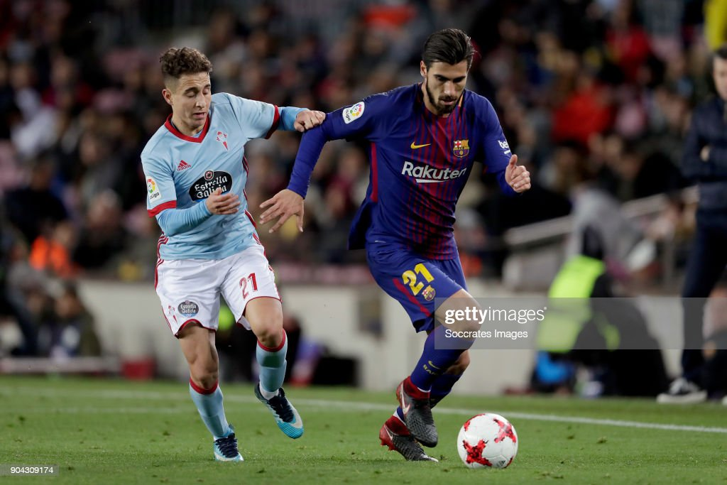 Emre Mor of Celta de Vigo, Andre Gomes of FC Barcelona during the Spanish Copa del Rey match between FC Barcelona v Celta de Vigo at the Camp Nou on January 11, 2018 in Barcelona Spain