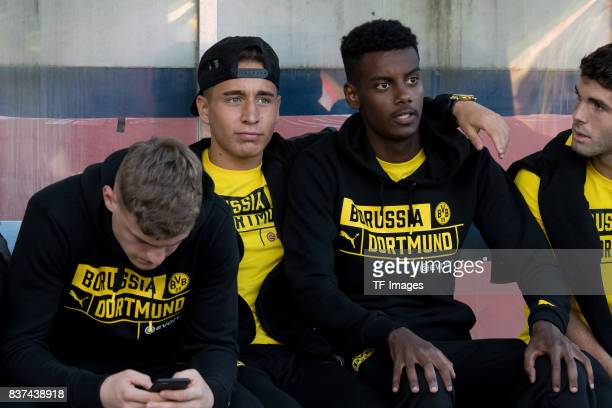 Emre Mor of Dortmund and Alexander Isak of Dortmund looks on during a friendly match between Espanyol Barcelona and Borussia Dortmund as part of the...