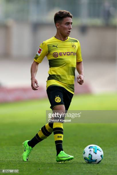 Emre Mor of Dortmund runs with the ball during the preseason friendly match between RotWeiss Essen and Borussia Dortmund at Stadion Essen on July 11...