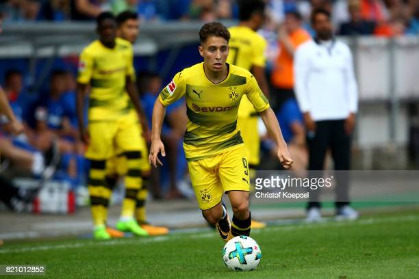 Emre Mor of Dortmund runs with the ball during the preseason friendly match between VfL Bochum and Borussia Dortmund at Vonovia Ruhrstadion on July...