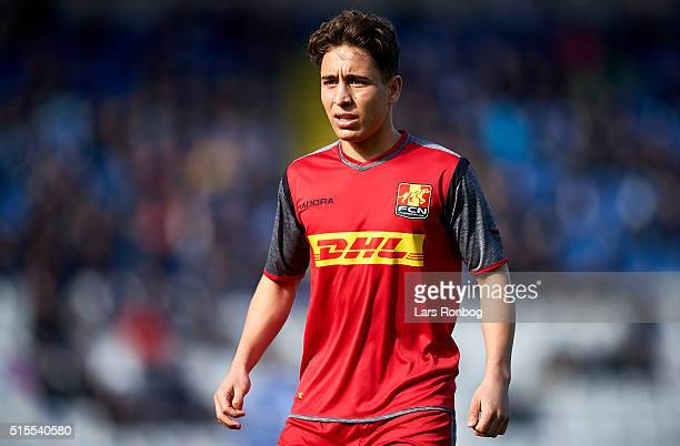 Emre Mor of FC Nordsjalland looks on during the Danish Alka Superliga match between OB Odense and FC Nordsjalland at TreFor Park on March 13 2016 in...
