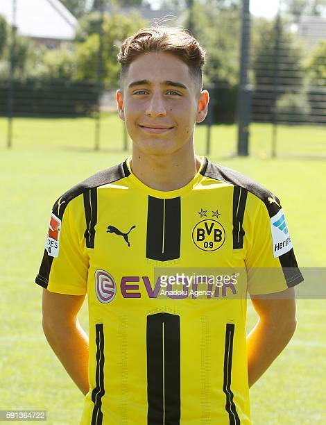 Emre Mor of German Bundesliga first division soccer club Borussia Dortmund is pictured during the photocall for the upcoming 2016/17 season in...