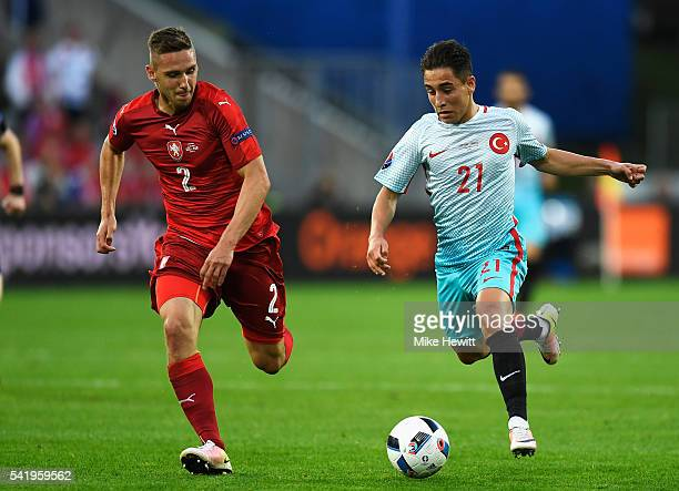 Emre Mor of Turkey and Pavel Kaderabek of Czech Republic compete for the ball during the UEFA EURO 2016 Group D match between Czech Republic and...