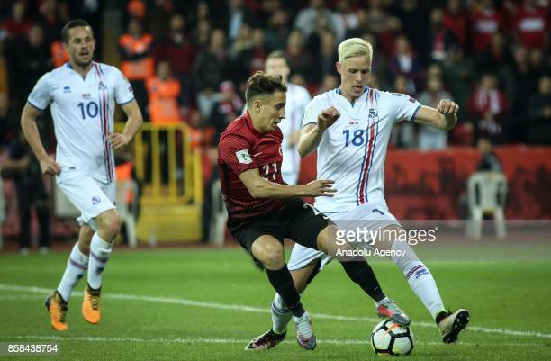 Emre Mor of Turkey in action during 2018 FIFA World Cup European Qualification Group I match between Turkey and Iceland in Eskisehir Turkey on...