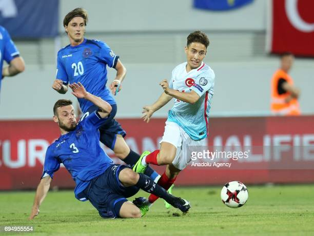 Emre Mor of Turkey vies with Fidan Aliti of Kosova during the FIFA 2018 World Cup Qualifiers Group I match between Kosovo and Turkey at Loro Borici...