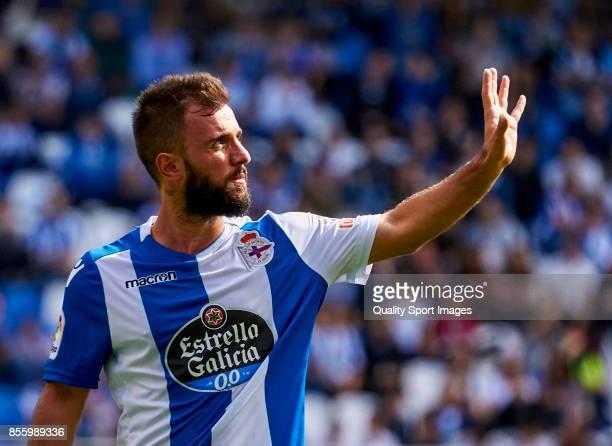 Emre Çolak of Deportivo de La Coruna gestures during the La Liga match between Deportivo La Coruna and Getafe at Abanca Riazor Stadium on September...