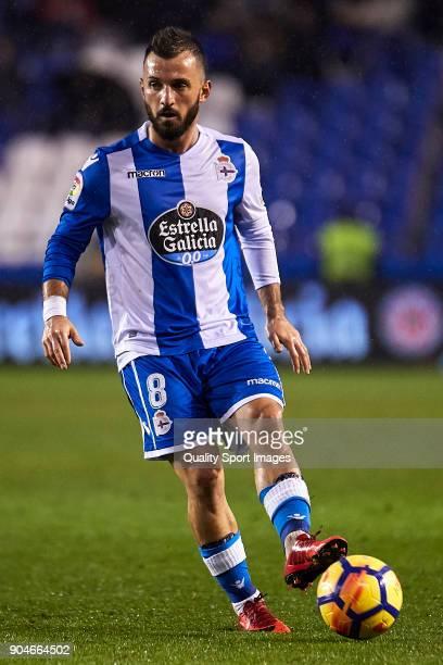 Emre Çolak of Deportivo de La Coruna in action during the La Liga match between Deportivo La Coruna and Valencia CF at Abanca Riazor Stadium on...