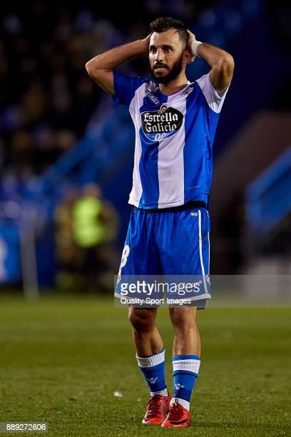 Emre Çolak of Deportivo de La Coruna reacts during the La Liga match between Deportivo La Coruna and Leganes at Abanca Riazor Stadium on December 9...