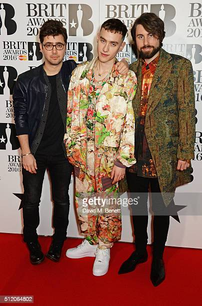 Emre Turkmen Olly Alexander and Mikey Goldsworthy arrive the BRIT Awards 2016 at The O2 Arena on February 24 2016 in London England